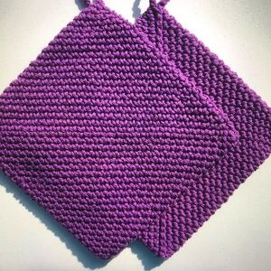 Double thick handmade cotton potholders purple